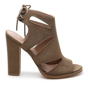 Olive Suede Block Heel Lace Up Sandals (size 8)